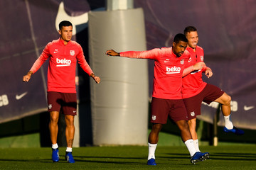 Philippe Coutinho Malcom FC Barcelona Training Session And Press Conference