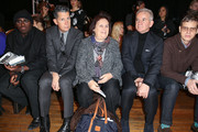(2L-R) Editor of W magazine Stefano Tonchi, head fashion reporter and editor International Herald Tribune Suzy Menkes and Massimo Ferretti attend the Philosophy By Natalie Ratabesi fall 2013 fashion show during Mercedes-Benz Fashion Week at Roseland Ballroom on February 13, 2013 in New York City.