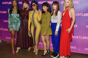 "(L-R) Keke Palmer, Cardi B, Jennifer Lopez, Constance Wu, Lorene Scafaria, and Lili Reinhart attend STX Entertainment's ""Hustlers"" Photo Call at Four Seasons Los Angeles at Beverly Hills on August 25, 2019 in Los Angeles, California."