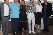 "(L-R) Dany Boon, Adam Sandler, Jennifer Aniston, Luis Gerardo Mendez,  Shiori Kutsuna and James Vanderbilt attend a photocall of Netflix's ""Murder Mystery"" at the Ritz Carlton Marina Del Rey on June 11, 2019 in Marina del Rey, California."