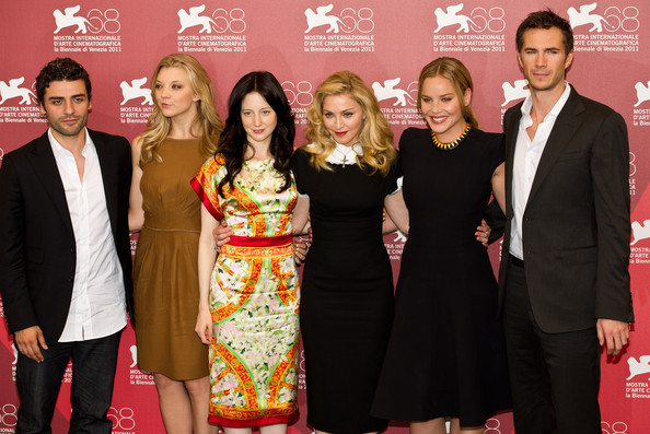 (L-R) Actors Oscar Isaac, Natalie Dormer, Andrea Riseborough, director/writer Madonna, actress Abbie Cornish and actor James D'Arcy pose during the'W.E.' photocall at the Palazzo del Casino on September 1, 2011 in Venice, Italy..