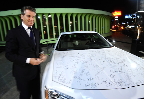 Pierce Brosnan Actor Pierce Brosnan poses with the Chrysler 300 at Vanity Fair Campaign Hollywood 2011 with Chrysler celebrating Artists for Peace and Justice presented by Brioni held at Eveleigh on February 22, 2011 in West Hollywood, California.