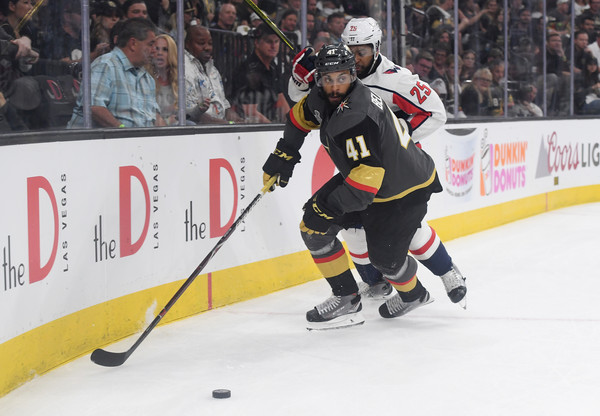 2018 NHL Stanley Cup Final - Game One [player,college ice hockey,ice hockey,sports,hockey,hockey protective equipment,ice hockey position,team sport,ball game,sports gear,game one,pierre-edouard bellemare,devante smith-pelly 25,t-mobile arena,las vegas,nevada,nhl,vegas golden knights,washington capitals,stanley cup final]