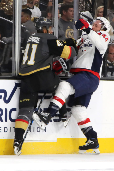 2018 NHL Stanley Cup Final - Game Five [ice hockey equipment,college ice hockey,ice hockey,player,hockey protective equipment,team sport,sports gear,hockey pants,hockey,stick and ball games,brooks orpik,pierre-edouard bellemare,five,game five,t-mobile arena,las vegas,nhl,washington capitals,vegas golden knights,stanley cup final]