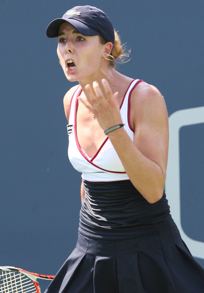 Alize Cornet Alize Cornet of France reacts during a match against Samantha