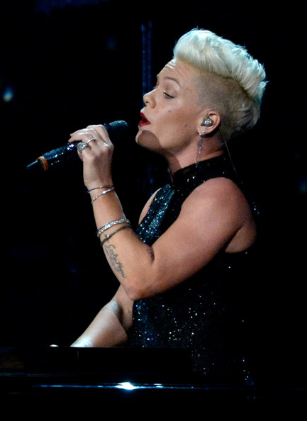 Pink Singer Pink performs onstage at The 2014 MusiCares Person Of The Year Gala Honoring Carole King at Los Angeles Convention Center on January 24, 2014 in Los Angeles, California.