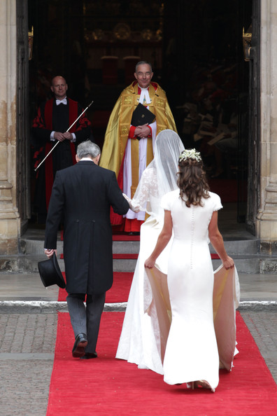 Pippa Middleton Catherine Middleton with the father Michael Middleton and Maid of Honour Pippa Middleton is greeted by The Very Reverend Dr John Hall (C), Dean of Westminster as they arrive to attend her Royal Wedding to Prince William at Westminster Abbey on April 29, 2011 in London, England. The marriage of the second in line to the British throne is to be led by the Archbishop of Canterbury and will be attended by 1900 guests, including foreign Royal family members and heads of state. Thousands of well-wishers from around the world have also flocked to London to witness the spectacle and pageantry of the Royal Wedding.