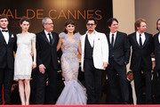 """(L-R) Actors Sam Claflin,Astrid Berges-Frisbey,Geoffrey Rush,Penelope Cruz,Johnny Depp, director Rob Marshall, producer Jerry Bruckheimer and actor Ian McShane attend the """"Pirates of the Caribbean: On Stranger Tides"""" premiere at the Palais des Festivals during the 64th Cannes Film Festival on May 14, 2011 in Cannes, France."""