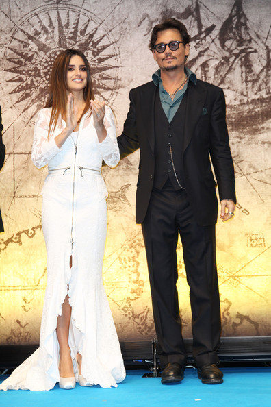 (UK TABLOID NEWSPAPERS OUT) Penelope Cruz and Johnny Depp attend the UK premiere of Pirates Of The Caribbean: On Stranger Tides at the Vue Westfield on May 12, 2011 in London, England.
