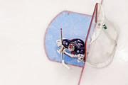 Sergei Bobrovsky #72 of the Columbus Blue Jackets follows the puck in Game Four of the Eastern Conference First Round during the 2017 NHL Stanley Cup Playoffs against the Pittsburgh Penguins on April 18, 2017 at Nationwide Arena in Columbus, Ohio. Columbus defeated Pittsburgh 5-4.