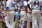 Starting pitcher Jon Lester #34 of the Chicago Cubs is taken out of the game after giving up 10 runs in the 1st inning to the Pittsburgh Pirates at Wrigley Field on July 9, 2017 in Chicago, Illinois.