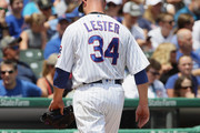 Starting pitcher Jon Lester #34 of the Chicago Cubs leaves the game after giving up 10 runs in the 1st inning to the Pittsburgh Pirates at Wrigley Field on July 9, 2017 in Chicago, Illinois.