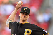A.J. Burnett #34 of the Pittsburgh Pirates pitches in the first inning against the Cincinnati Reds at Great American Ball Park on July 30, 2015 in Cincinnati, Ohio.