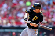 Justin Morneau #66 of the Pittsburgh Pirates hits a single in the third inning against the St. Louis Cardinals during Game Two of the National League Division Series at Busch Stadium on October 4, 2013 in St Louis, Missouri.
