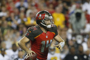 Quarterback Ryan Fitzpatrick #14 of the Tampa Bay Buccaneers throws to an open receiver during the third quarter of a game against the Pittsburgh Steelers on September 24, 2018 at Raymond James Stadium in Tampa, Florida.