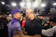 Head coaches (R-L) James Franklin of the Penn State Nittany Lions and Chris Petersen of the Washington Huskies shake hands following the Playstation Fiesta Bowl at University of Phoenix Stadium on December 30, 2017 in Glendale, Arizona. The Nittany Lions defeated the Huskies 35-28.