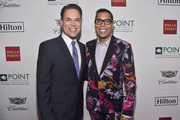 Steven Canals (R) poses with Jorge Valencia, Executive Director & CEO of Point Foundation, at Point Foundation?s Point Honors gala at The Beverly Hilton Hotel on October 13, 2018 in Beverly Hills, California.