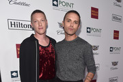 Jesse Haddock (L) and Thomas Dekker arrive at Point Foundation?s Point Honors gala at The Beverly Hilton Hotel on October 13, 2018 in Beverly Hills, California.