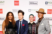 (L-R) Tracie Thoms, Rhea Butcher, Theo Germaine and Rahne Jones attend Point Honors Los Angeles 2019, Benefitting Point Foundation at The Beverly Hilton Hotel on October 12, 2019 in Beverly Hills, California.