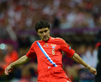 Yuriy Zhirkov of Russia on the ball during the UEFA EURO 2012 group A match between Poland and Russia at The National Stadium on June 12, 2012 in Warsaw, Poland.