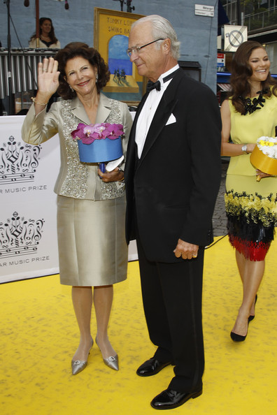 (L-R) Queen Silvia of Sweden, King Carl XVI Gustaf of Sweden and Princess Victoria of Sweden arrive for the Polar Music Prize at Konserthuset on August 28, 2012 in Stockholm, Sweden.
