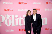 """Netflix VP of Content Acquisition/Original Series Cindy Holland (L) and Netflix Chief Content Officer Ted Sarandos attend Netflix's """"The Politician"""" Season One Premiere at DGA Theater on September 26, 2019 in New York City."""