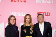 """(L-R)m Netflix VP of Content Acquisition/Original Series Cindy Holland, Chairman of Disney Television Studios Dana Walden, and Netflix Chief Content Officer Ted Sarandos attend Netflix's """"The Politician"""" Season One Premiere at DGA Theater on September 26, 2019 in New York City."""