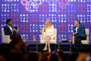 (L-R) Steven Olikara, Ann Coulter and David Frum speak onstage during the 2019 Politicon at Music City Center on October 26, 2019 in Nashville, Tennessee.