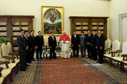 Pope Benedict XVI meets Vietnamese President Nguyen Minh Triet and his delegation at his library on December 11, 2009 in Vatican City, Italy.