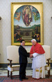 Pope Benedict XVI meets with Vietnamese President Nguyen Minh Triet (L) at his library on December 11, 2009 in Vatican City, Italy.