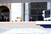 (L-R) Italian minister of Education and Research Stefania Giannini, Cardinal Angelo Bagnasco and Pope Francis attend a festive encounter with students, school children, along with their teachers and families, filled St. Peter's Square and Via della Conciliazione on May 10, 2014 in Vatican City, Vatican. The meeting was part of a national campaign organized by the Italian Bishops Conference in support of schools. The Pope concluded by reminding the participants that going to school ought to teach us how speak in three languages: the language of the mind, the language of the heart, and the language of the hands.