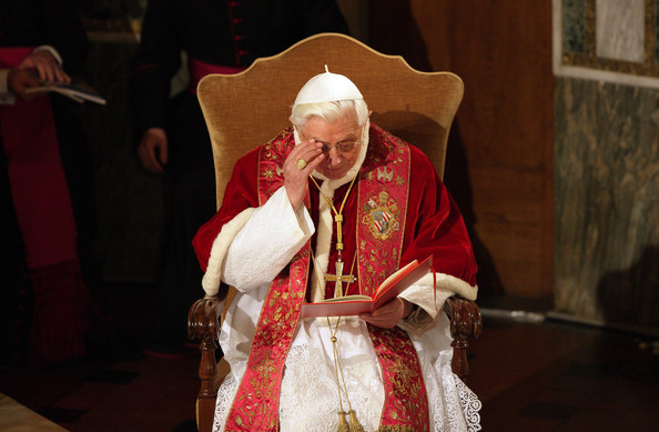 Pope Benedict XVI prays during  his visit to the Lutheran Church of Rome on March 14, 2010 in Vatican City, Vatican. Benedict spoke about the importance of relationships between the different Christian churches.