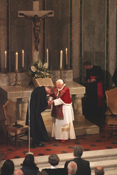 Pope Benedict XVI receives greetings from   Rev. Jens-Martin Kruse  during  his visit to the Lutheran Church of Rome on March 14, 2010 in Vatican City, Vatican. Benedict spoke about the importance of relationships between the different Christian churches.