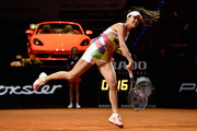 Ana Ivanovic of Serbia serves in her match against Carina Witthoeft of Germany during Day 2 of the Porsche Tennis Grand Prix at Porsche-Arena on April 19, 2016 in Stuttgart, Germany.