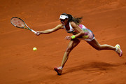 Ana Ivanovic of Serbia plays a forehand in her match against Karolina Pliskova of Czech Republic during Day 4 of the Porsche Tennis Grand Prix at Porsche-Arena on April 21, 2016 in Stuttgart, Germany.
