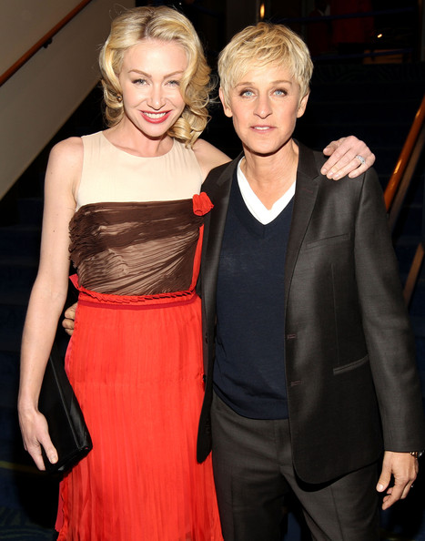 Portia de Rossi Actresses Portia de Rossi and Ellen DeGeneres pose backstage during the 2012 People's Choice Awards at Nokia Theatre L.A. Live on January 11, 2012 in Los Angeles, California.