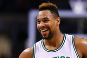 Jared Sullinger #7 of the Boston Celtics laughs during the third quarter against the Portland Trail Blazers at TD Garden on March 2, 2016 in Boston, Massachusetts.