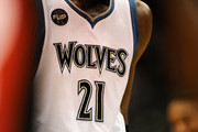 The Flip Saunders memorial patch is seen on the jersey of Kevin Garnett #21 of the Minnesota Timberwolves during the fourth quarter of the home opening game against the Portland Trail Blazers on November 2, 2015 at Target Center in Minneapolis, Minnesota. The Trail Blazers defeated the Timberwolves 106-101. NOTE TO USER: User expressly acknowledges and agrees that, by downloading and or using this Photograph, user is consenting to the terms and conditions of the Getty Images License Agreement.
