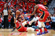 Anthony Davis #23 of the New Orleans Pelicans steals the ball from Damian Lillard #0 of the Portland Trail Blazers during Game 3 of the Western Conference playoffs at the Smoothie King Center on April 19, 2018 in New Orleans, Louisiana. NOTE TO USER: User expressly acknowledges and agrees that, by downloading and or using this photograph, User is consenting to the terms and conditions of the Getty Images License Agreement.