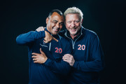 Laureus Academy Member Boris Becker (R) and Cafu (L) poses at the Mercedes Benz Building prior to the 2020 Laureus World Sports Awards on February 16, 2020 in Berlin, Germany.