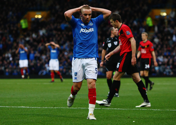 Jamie O'Hara of Portsmouth looks dejected during the Barclays Premier League match between Portsmouth and Manchester United at Fratton Park on November 28, 2009 in Portsmouth, England.