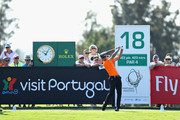 Alvaro Quiros of Spain tees off on hole eighteen during Day Two of the Portugal Masters at Dom Pedro Victoria Golf Course on September 21, 2018 in Albufeira, Portugal.