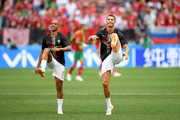 Cristiano Ronaldo and Joao Mario of Portugal warm up prior to the 2018 FIFA World Cup Russia group B match between Portugal and Morocco at Luzhniki Stadium on June 20, 2018 in Moscow, Russia.
