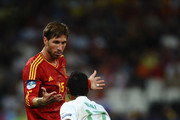 Sergio Ramos of Spain speaks to Nani of Portugal during the UEFA EURO 2012 semi final match between Portugal and Spain at Donbass Arena on June 27, 2012 in Donetsk, Ukraine.