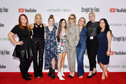 (L-R) Producer Carolyn Fraterman, Producer Marisa Polvino, Hannah Nordberg, Jenna Ortega, Julie Bowen, Holly Barrett, Producer Robin Jonas and Producer Ngoc Nguyen attends Power On Premiere By Straight Up Films With Support From YouTube at Google Playa Vista Office on April 24, 2019 in Playa Vista, California.