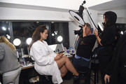 Model Ashley Graham prepares backstage for Prabal Gurung fashion show during New York Fashion Week: The Shows at Gallery I at Spring Studios on February 10, 2019 in New York City.