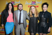 "Chaz Bono (center) poses for photos with original members of The Go-Go's (L-R) Kathy Valentine, Charlotte Caffey, and Jane Wiedlin on the red carpet for the Pre-Broadway Opening Engagement Of ""Head Over Heels"" at the Curran Theatre on April 18, 2018 in San Francisco, California."
