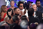 """Beyonce, Nas and Jay-Z attend the Pre-GRAMMY Gala and GRAMMY Salute to Industry Icons Honoring Sean """"Diddy"""" Combs on January 25, 2020 in Beverly Hills, California."""