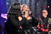 "(L-R) Faith Evans and Lil' Kim perform onstage during the Pre-GRAMMY Gala and GRAMMY Salute to Industry Icons Honoring Sean ""Diddy"" Combs on January 25, 2020 in Beverly Hills, California."