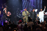 "(L-R) Faith Evans, Lil' Kim, Ma$e, Carl Thomas, and King Combs perform onstage during the Pre-GRAMMY Gala and GRAMMY Salute to Industry Icons Honoring Sean ""Diddy"" Combs on January 25, 2020 in Beverly Hills, California."